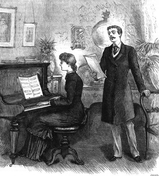 A lady sits at the piano, and accompanies a singing man. 1881