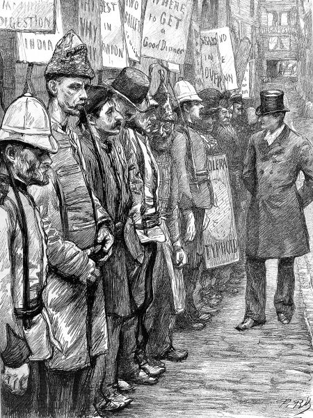Engraving showing a businessman inspecting a line of men, whom he has just employed as 'sandwich men', London, 1894. The original caption for this image was 'Recruiting the Sandwich Men: Accepted&#39