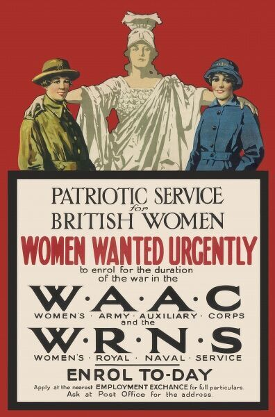 First World War recruitment poster for the WAAC (Women's Army Auxiliary Corps) and WRNS (Women's Royal Naval Service)