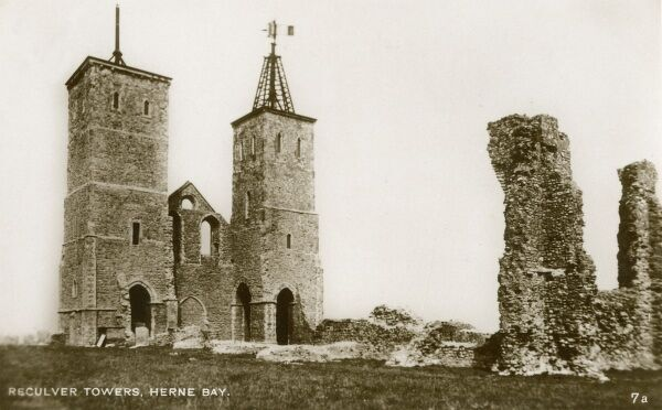 Reculver - The Towers of the ruined medieval church - Herne Bay, Kent