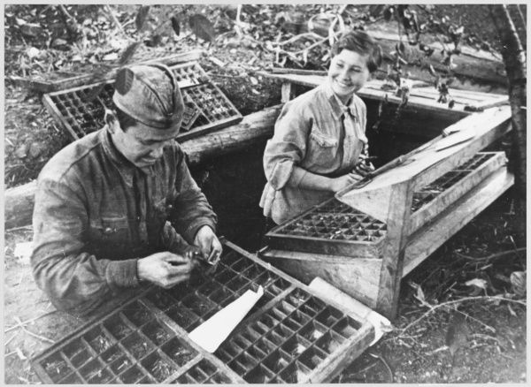 Red Army newspaper being produced at the front