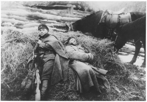 Russian Civil War - Red Army Soldiers resting on the Polish Front