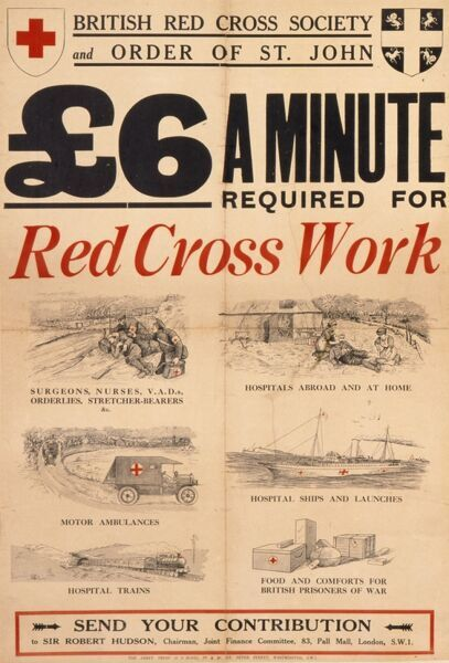 Poster asking for donations to the British Red Cross during World War I, stressing urgently that six pounds a minute is required to maintain the number of motor ambulances, hospital ships, volunteers and supplies