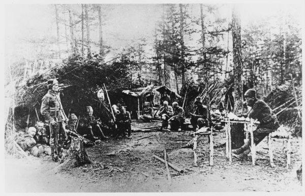 An encampment of partisans in far east Taiga, Siberia