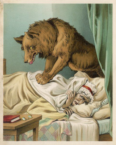 The wicked wolf terrifies Red Riding Hood's grandmother by leaping onto her bed: she cowers under the sheets