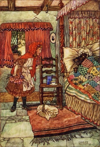 Red Riding Hood by Charles Folkard. 'Grandmother, what big teeth you have'. A fairy tale by Charles Perrault