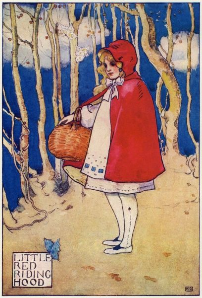 Red Riding Hood by Katharine Cameron. Cameron was a Glasgow born illustrator and an associate of Jessie M King and the Mackintoshes