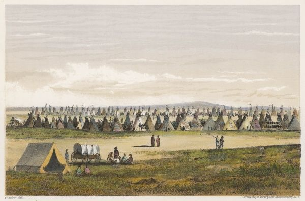 A government exploring party pitch their tent near a camp of native American hunters (probably Sioux) on the Red River of the North, Minnesota / North Dakota
