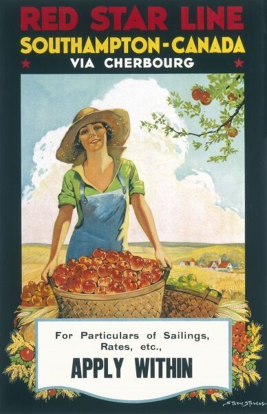 Red Star Line Poster, Southampton to Canada via Cherbourg showing a woman picking apples