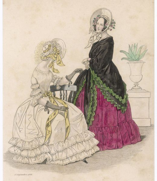 White dress: 3 flounces at the hem, yellow ribbon at the waist, half sleeves with 2 bouffants & a volan. Red gown: single flounce & worn with a green-edged black shawl