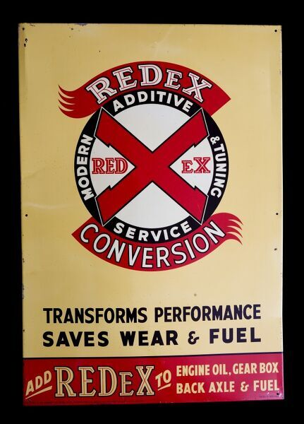 A tin/alloy sign advertising Redex Modern Additive & Tuning Service. *EDITORIAL USE ONLY*