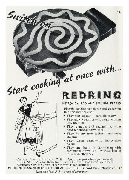 Advertisement for Redring Metrovick Boiling Plates manufactured by Metropolitan-Vickers Electrical Company of Old Trafford, Manchester, showing a jubilant housewife delighted with her new cooker