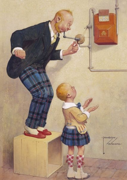 Comic illustration by Lawson Wood (1878-1957) showing a Scottish man blowing into his gas supply in an attempt to reduce bills watched by his son in a tartan kilt