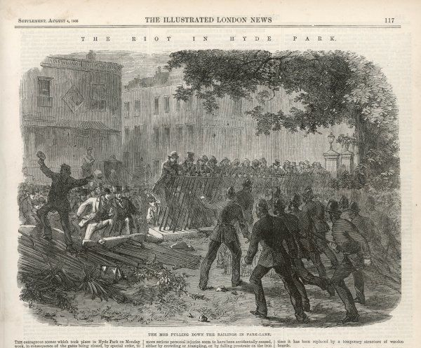 Rioting during the Reform League demonstration in Hyde Park, London: the mob pull down the railings while the police struggle to maintain order