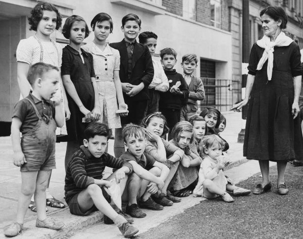 Some of the children who came to London from Gibraltar during World War II and who had been found homes at Lancaster Gate