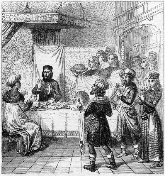 Pierre d'Aubusson, Grand Master of the Knights of St John, entertains the son of the Turkish sultan who has sought refuge on the island