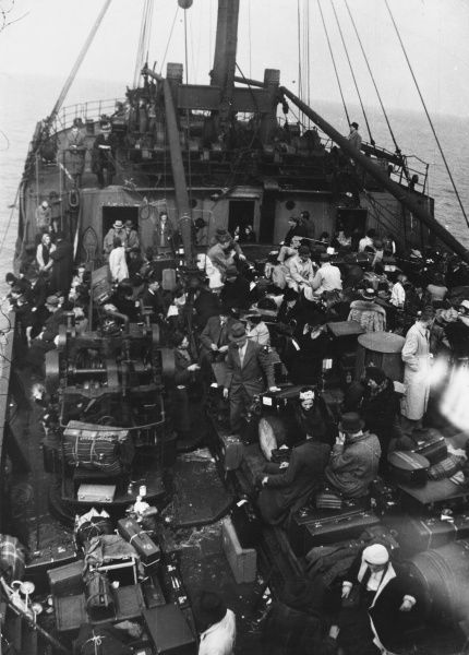 Refugees travelling by ship during World War II