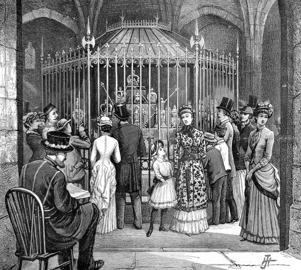 Engraving showing the display of Regalia at the Tower of London, with a Yeoman Warder keeping watch on the sightseers, 1885