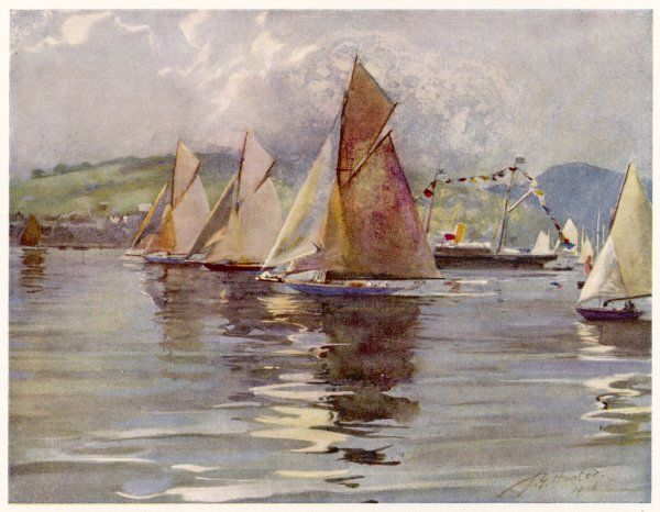 The Royal Northern Yacht Club regatta on the Clyde, Scotland - 'Rosemary', 'Vagrant' and 'Tigris' in Rothesay Bay