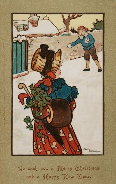 A prim young lady wearing a bonnet and holding a fur muff (as well as a bunch of holly and an umbrella) looks behind her in alarm at a young ruffian who is about to aim a snowball in her direction