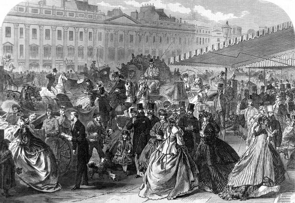Engraving showing pedestrians and carriages in Regent Street, during the London 'Season', 1866