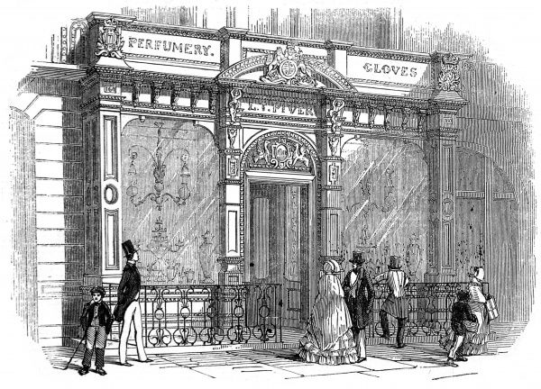 Engraving showing the exterior of L.T. Piver's perfume shop, Regent Street, 1846
