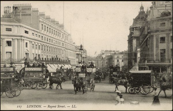 Busy traffic in Regent Street, seen from Oxford Circus : several horse-buses, cabs and other vehicles