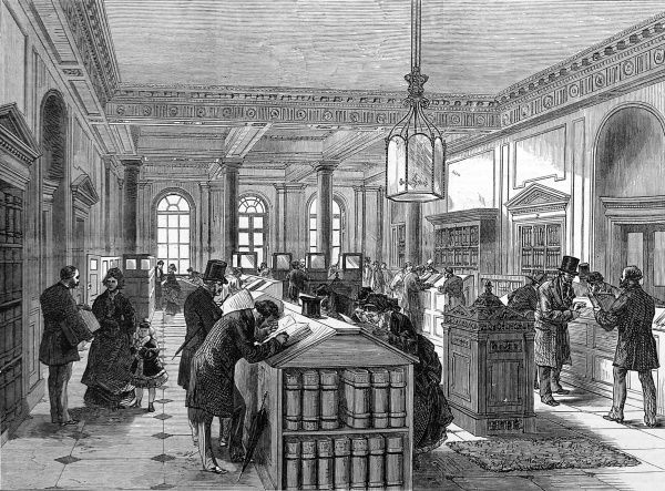 Engraving showing the interior of the Registry of Wills Office in Somerset House, London, 1875. Date: 30 January 1875
