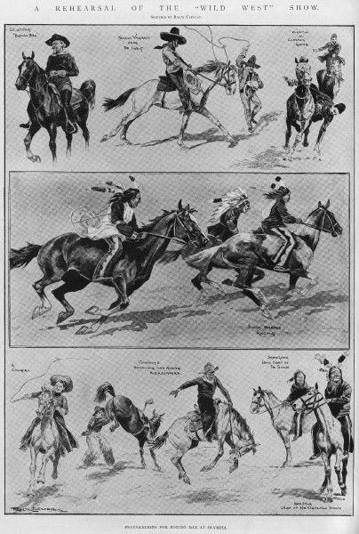 "A series of sketches by Ralph Cleaver of rehearsals for Colonel Cody's ""Wild West"" show at Olympia, including Sioux braves racing horses, cow girls and cowboys, Mexican vaqueros using lassos and an exhibition of cossack riding"