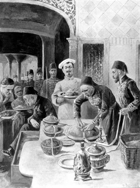 Scene from the kitchens of the Sultan at the palace of Yildiz in Turkey, showing the Sultan's dinner being tasted and then sealed with a long ribbon by palace officials, in order to avoid poisoning
