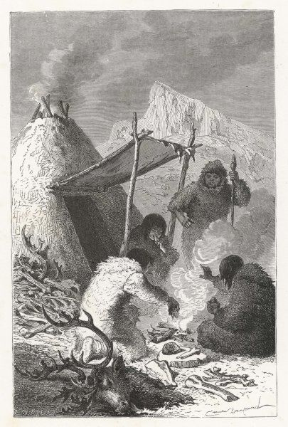 A meal of reindeer cooked on an open fire, during the Reindeer Era (part of the Stone Age)
