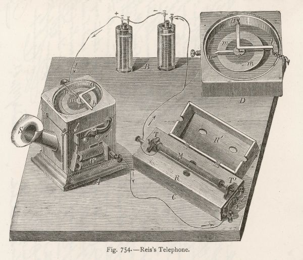 The Reis Telephone System (developed by Johann Philipp Reis, 1834 - 1874), demonstrated to the Physical Society in Frankfurt in 1861. Reis' speaker worked by magnetostriction