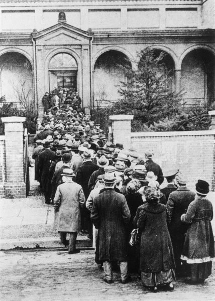Relatives outside a morgue in Munich. The only way to determine the fate of someone missing at this time of civil unrest was to check the morgue
