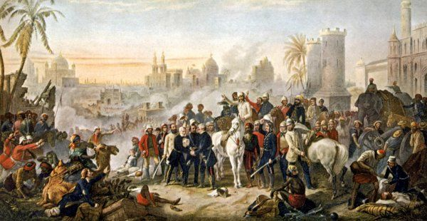 The relief of Lucknow, where the garrison and residents had been besieged, by sir Colin Campbell