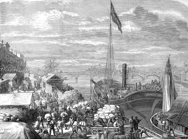 Illustration showing the arrival of a vessel in Paris on the Seine River, carrying provisions from London for the beleagured inhabitants of Paris, 1871