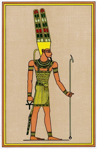 The supreme god of the Egyptian pantheon : sometimes known as AMUN-RE, adding the attributes of RE, the creator sun-god of Heliopolis