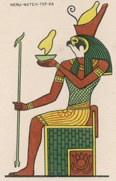 The falcon-god Horus has many forms : this is HERU-NETCH- TEF-RA
