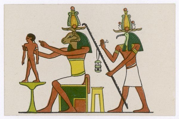 The ram-god KHNUM is the creator of life, which he does on his potter's wheel, while Thoth measures the span of the person's life