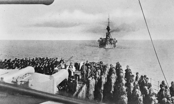 The last service on the HM Ship London for Australians going ashore at Gallipoli during World War I