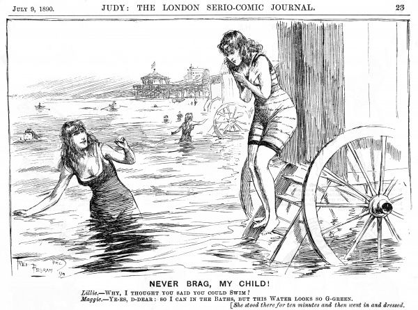 A girl hesitates on the steps of her bathing machine, dismayed by the appearance of the sea, alarmingly different from the familiarity of the swimming baths !
