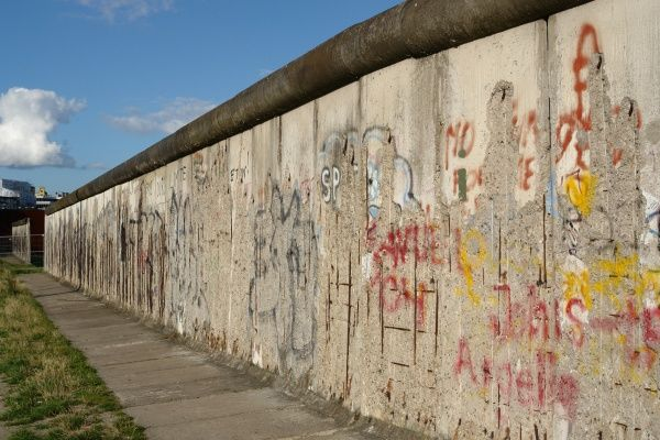 Remains of the Berlin Wall with graffiti in the Bernauer Strasse, Berlin, Germany