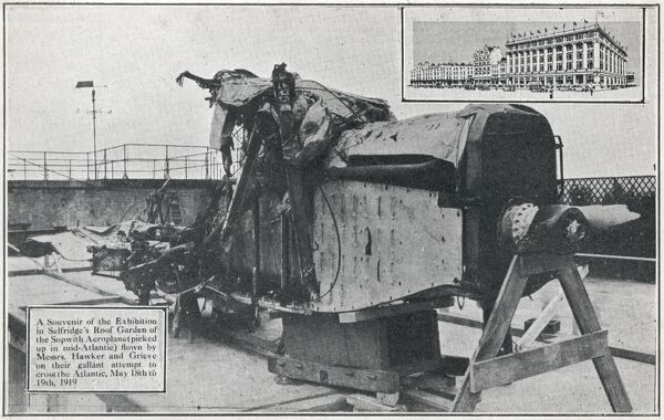 The remains of the Sopwith aeroplane 'Atlantic' (picked up in the Mid Atlantic) from the ill-fated attempt to cross the Atlantic Ocean by Harry George Hawker and Kenneth Mackenzie Grieve (May 18th - 19th, 1919) - displayed in Selfridge's