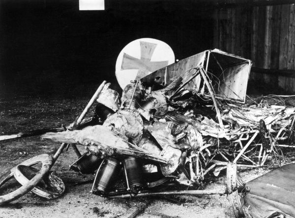 The remains of the German air ace Max Immelmann's Fokker plane -- he crashed at Sallaumines, northern France, on 18 June 1916, during the First World War. Date: June 1916