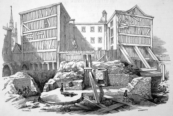 General view of the remains of the Roman villa, on the site of the new Coal Exchange opposite Billingsgate Market. The portion of the house uncovered consisted of 2 rooms, with the rest of the remains under a building which was not removed