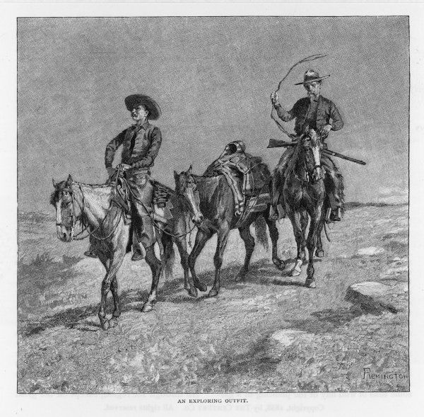 An exploring outfit - two cowboys on horseback with a spare horse to carry extra supplies