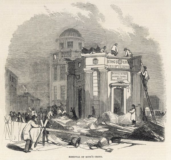 Engraving showing the dismantling and removal of the 'King's Cross' building in London, 1845. The building served as exhibition hall, police station and beer shop in its time