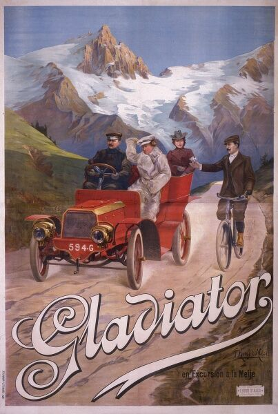 A French advertisement for a vehicle of the Gladiator Car Company, driving along a high Alpine lane, and passing a cyclist, possibly grateful to have reached the top of a vertigious climb!