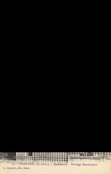 Renaissance Clock at Chartres Cathedral, France Date: circa 1910s