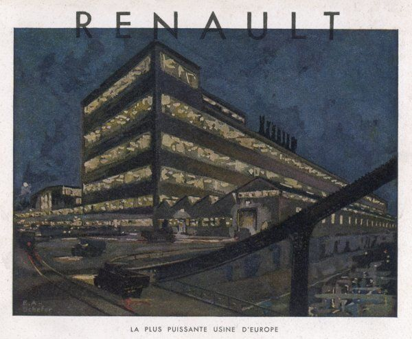 "Exterior of the Renault factory at Billancourt, Paris - ""the most powerful factory in Europe"". A view at night with the windows illuminated"