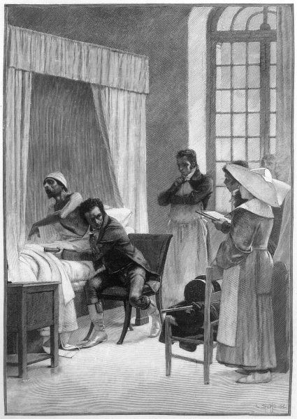 Rene Theophile Hyacinthe Laennec, French physician, inventor of the stethoscope in 1816 at the Hopital Necker in Paris, where he was working at the time. Seen here using a stethoscope on a patient